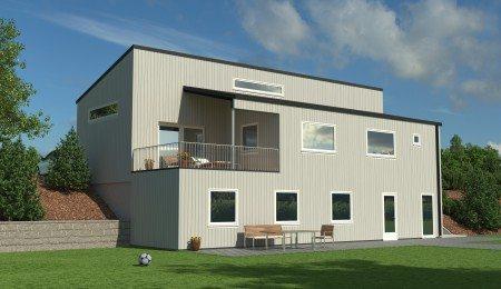 Lierhus - Knausen - moderne bolig tilpasset skrå tomt